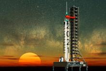 Ilustración 3d Con El Año 2021 Escrito En Una Jeringuilla Con La Vacuna Para La COVID Simulando Un Cohete
