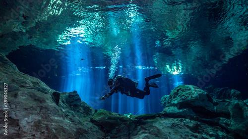 Fototapeta Cenote Tajma Ha with light rays Underwater in Yucatan, Mexico obraz