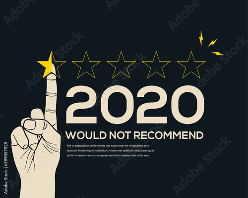 Low customer star rating review for 2020 year. Bad year or crisis year concept. End of the year. Vector illustration. © paul_craft