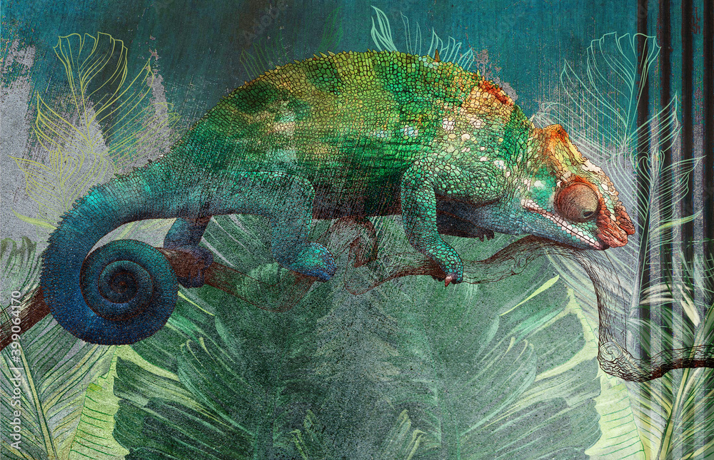 Tropical leaves and plants with drawn chameleon on concrete grunge wall. Great choise for wallpaper, photo wallpaper, mural, card, postcard. Design for modern and loft interiors.