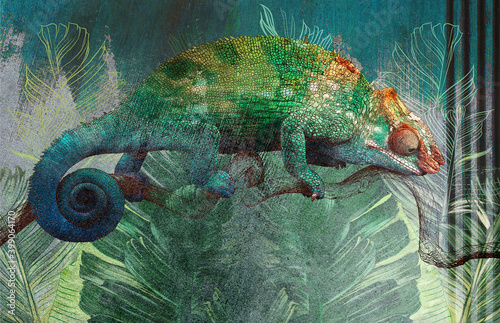 tropical-leaves-and-plants-with-drawn-chameleon-on-concrete-grunge-wall-great-choise-for-wallpaper-photo-wallpaper-mural-card-postcard-design-for-modern-and-loft-interiors