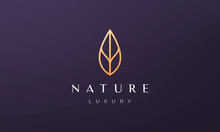 Minimalist Gold Leaf Logo In Luxury And Modern Style