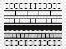 Film Strip Set. Blank Stripes Cinema On Transparent Background. Vector Templates.
