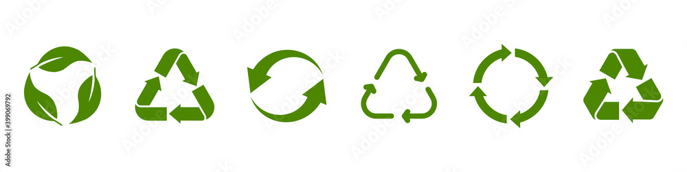Fototapeta Recycling green icon set. Recycle symbol. Rotation arrow pack. Reuse cycle. Vector eco icons