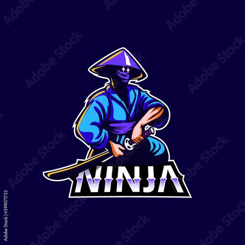 Fotografía Ninja mascot logo icon vector design