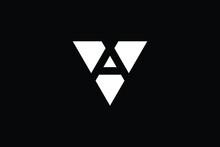 AV Logo Letter Design On Luxury Background. VA Logo Monogram Initials Letter Concept. AV Icon Logo Design. VA Elegant And Professional Letter Icon Design On Black Background. AV VA