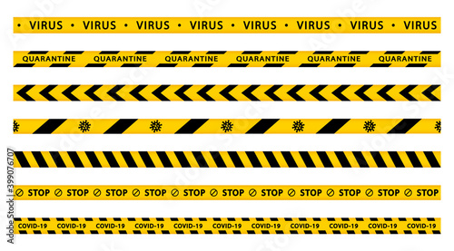 Fototapeta Warning quarantine tape set. Coronavirus stop stripes. Covid-19. Seamless ribbons barricade. Black and yellow striped. obraz