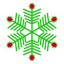Green Snowflake With Diamonds