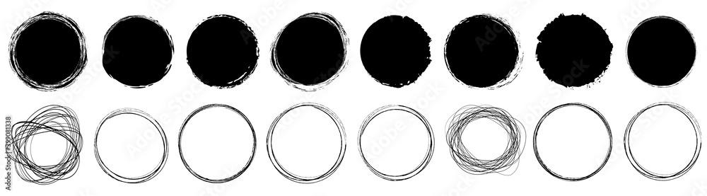Fototapeta set of round brush painted ink stamp circle banner on transparent background
