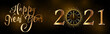 card or banner on happy new year 2021 in gold on a gradient black brown background with a clock