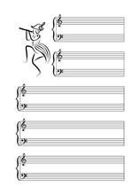 Musical Notes Blank Sheet With Black Outline Pied Piper. Black Lines On White Background. Vector Illustration.