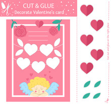 Vector Saint Valentine Day Cut And Glue Activity. Holiday Educational Crafting Game With Cute Cupid And Hearts. Fun Activity For Kids With Love Theme. Decorate Valentine's Card. .