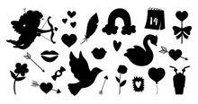 Vector Set Of Saint Valentine Day Silhouettes. Collection Of Cute Black And White Characters And Objects With Love Concept. Cupid, Dove, Hearts And Swans Isolated On White Background. .
