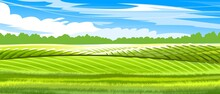 Hills And Meadows. Haymaking Pastures. Agricultural Farm Land. Green Grass. Grassland For Farming. Beautiful Countryside Landscape. Vector