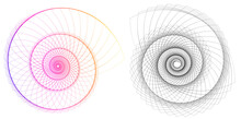 Abstract Spiral Rainbow Design Element On White Background Of Twist Lines