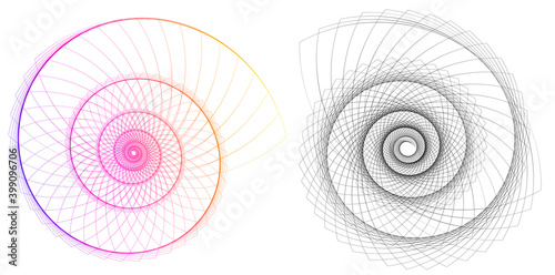 Obraz na plátně Abstract spiral rainbow design element on white background of twist lines