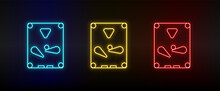 Neon Icons. Pinball Arcade Game. Set Of Red, Blue, Yellow Neon Vector Icon