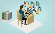 アイソメトリック、テレワークで自宅で働く人がオンラインミーティングしているところ