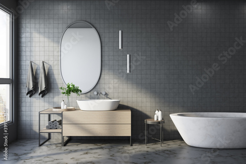 Fototapeta Comfortable bathroom interior with white bath obraz