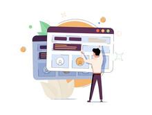 Man Adding Information On Website. Concept Of Digital Content Creation And Management, Internet Publication, Publishing