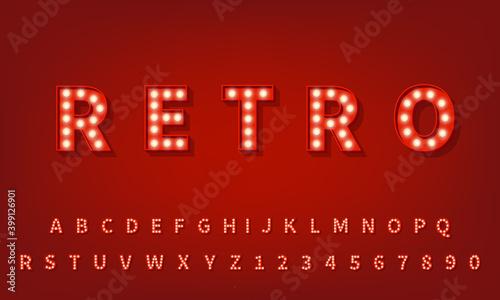 Tableau sur Toile Retro 3d typography font. 3d light bulb alphabet