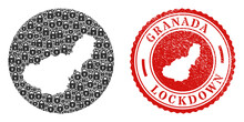 Vector Mosaic Granada Province Map Of Locks And Grunge LOCKDOWN Stamp. Mosaic Geographic Granada Province Map Constructed As Subtraction From Circle With Black Locks.