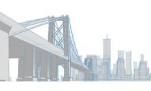 City industrial Landscape 3d Illustration