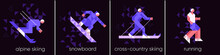 Vector Illustration. Set Of Icons, Sports And Activities, Alpine Skiing, Snowboarding, Cross-country Skiing And Running. Abstract, Background Patterns, Triangular Mosaics, Stylized Polygonal Images.
