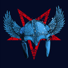Vector Illustration Of  Viking Helmet Whit Wings And Diabolic Inverted Star