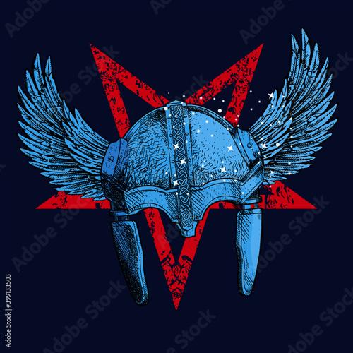 Obraz na plátně Vector illustration of  viking helmet whit wings and diabolic inverted star