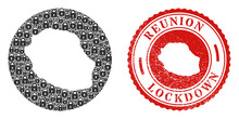 Vector Mosaic Reunion Island Map Of Locks And Grunge LOCKDOWN Stamp. Mosaic Geographic Reunion Island Map Constructed As Stencil From Circle With Black Locks.