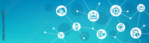 digital healthcare / smart health devices / iot technology in medicine vector illustration. Concept around medical big data, cloud applications, wearable health monitoring, digital / virtual diagnosis - fototapety na wymiar
