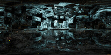 Abstract Abandoned Industry Hall And Glowing Particles 360 Degree Panorama 3d Render Illustration With Equi Rectangular Projection