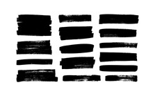 Vector Black Paint, Ink Brush Strokes, Rectangular Shapes. Dirty Grunge Design Elements, Rectangle Or Background For Text. Grungy Black Smears Or Rough Lines. Hand Drawn Grunge Ink Illustration