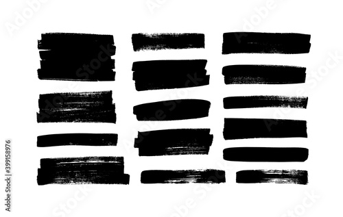 Obraz Vector black paint, ink brush strokes, rectangular shapes. Dirty grunge design elements, rectangle or background for text. Grungy black smears or rough lines. Hand drawn grunge ink illustration  - fototapety do salonu