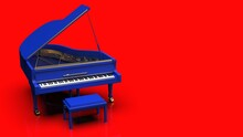 Blue Grand Piano Under Red Background. 3D Illustration. 3D High Quality Rendering. 3D CG.