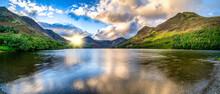 Buttermere Lake Panroama At Sunrise. Lake District Park. Cumbria. England