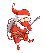 The Santa Clause With The Red Mask Is Holding The Spray Gun Of The Disinfectant To Kill The Virus