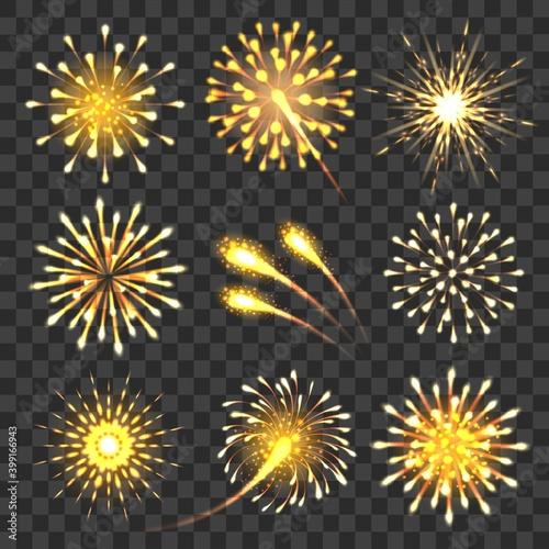 Obraz na plátně Golden cheers fireworks