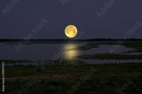 Big full moon over the lake in the field - fototapety na wymiar