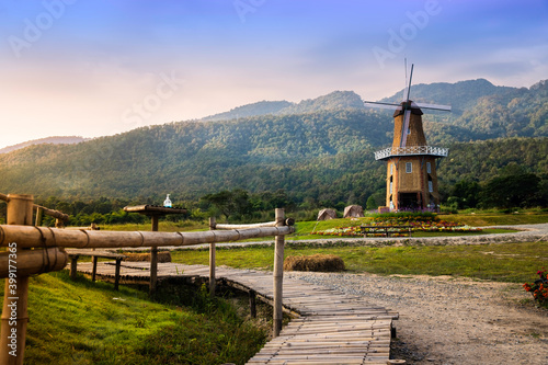 autumn sunrise in mountain rural area. Bamboo Walkway on nature with wind turbines in weathered  blue sky in morning light