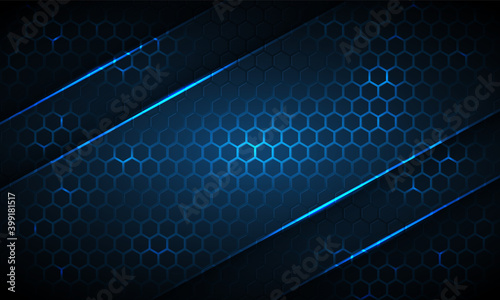 Valokuva Dark blue hexagonal technology abstract background with neon stripes