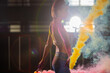 Fashion Asian Woman throws Colorful Dust and multi color Smoke stick