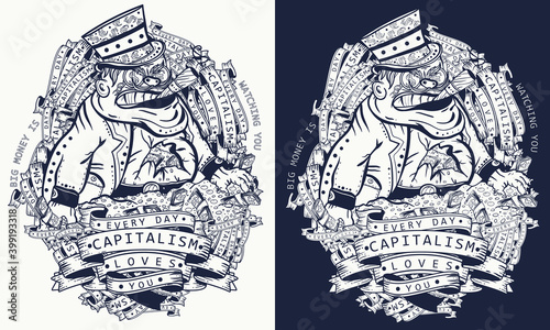 Fotografia, Obraz Capitalism caricature