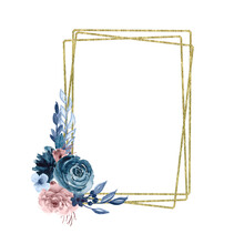 Watercolor Gold Foliage Geometric Frame. Isolated Rectangle Polygonal Frame. Hand Painted Dusty Pink, Dusty Blue Bouquet. Pastel Flowers. For Wedding Design, Invitations, Bridal Shower
