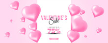 Valentine's Day Sale Design With Hearth Background