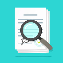 Analysis Inspection Audit Of Agreement Contract Documents Vector, Statement Terms Review Vector Flat, Compliance Paperwork Verification, Assessment Evaluation Of Legal Law Business Corporations Bylaws