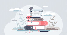 Learning Online Or Digital E-learning Studying Process Tiny Person Concept