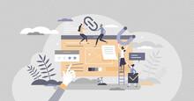 Link Building Connection As Website Content Optimization Tiny Person Concept