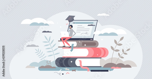 Obraz Learning online or digital e-learning studying process tiny person concept - fototapety do salonu